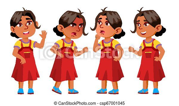 Arab, Muslim Girl Kindergarten Kid Poses Set Vector. Little Children. Happiness Enjoyment. For Web, Brochure, Poster Design. Isolated Cartoon Illustration - csp67001045