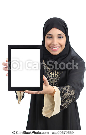 Arab saudi emirates happy woman showing an app in a tablet screen - csp20679659