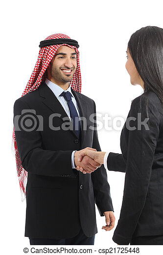 Arab saudi happy businessman handshaking in a negotiation - csp21725448