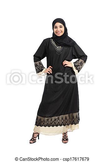 Arab woman posing standing looking at camera - csp17617679