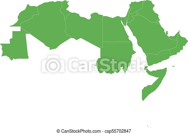 Arab World States Blank Political Map Of 22 Arabic Speaking