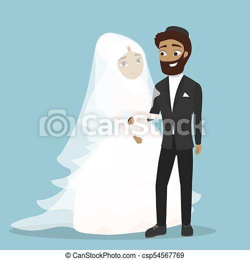 arabe, couple., mariage