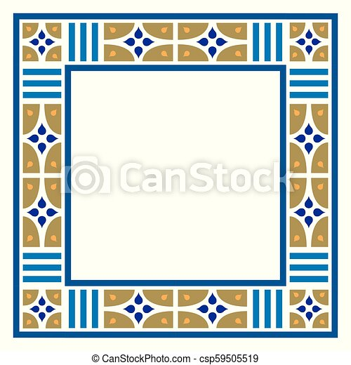 Arabesque frame, geometric border - csp59505519