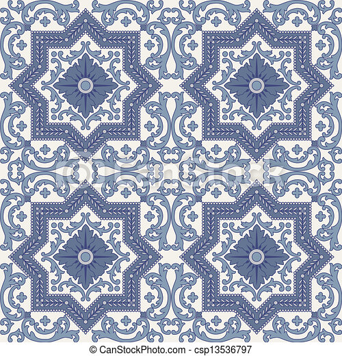 Arabesque seamless pattern in blue and grey - csp13536797
