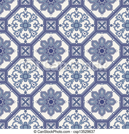 Arabesque seamless pattern in blue and grey - csp13529637