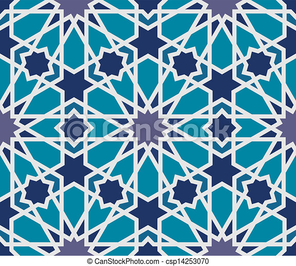 Arabesque seamless pattern in blue and grey - csp14253070