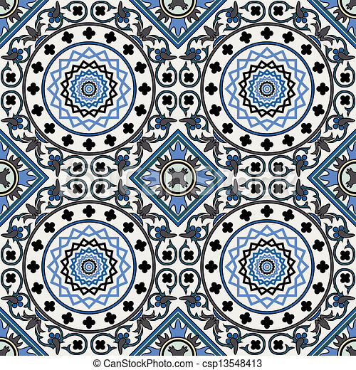 Arabesque seamless pattern in blue  - csp13548413