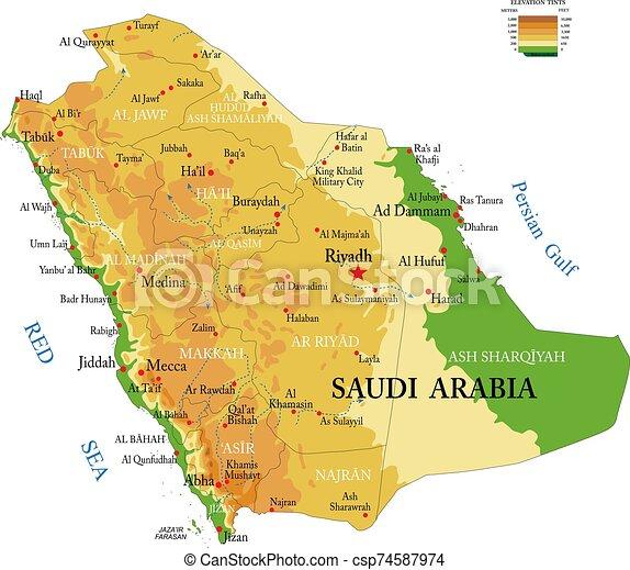 Medio Oriente Cartina Fisica.Arabia Saudita Mappa Fisico Saudita Fisico Arabia Cities Dettagliato Formato Grande Forme Vettore Regioni Canstock