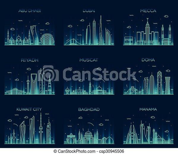 Arabian peninsula skylines line art style vector - csp30945506