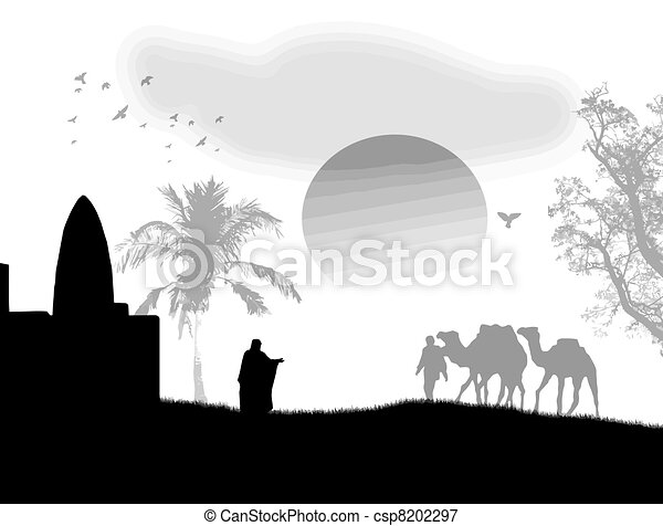 Arabian sunset on black and white - csp8202297