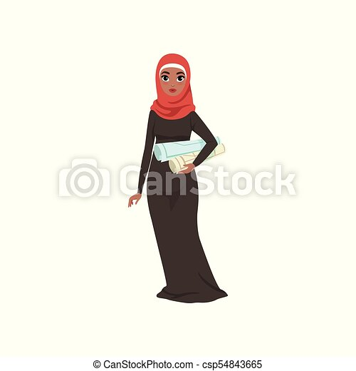 Arabic businesswoman character standing with with rolls in her hands, elegant muslim woman in traditional dress vector Illustration on a white background - csp54843665