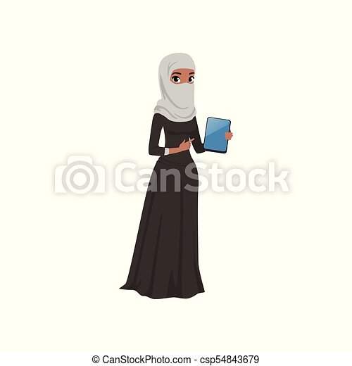 Arabic businesswoman character standing with electronic tablet, elegant muslim woman in traditional dress vector Illustration on a white background - csp54843679