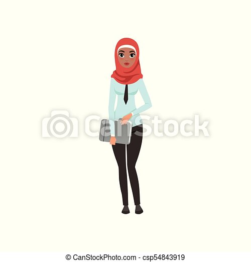 Arabic businesswoman character standing with folder for documents, elegant muslim woman in formal wear vector Illustration on a white background - csp54843919