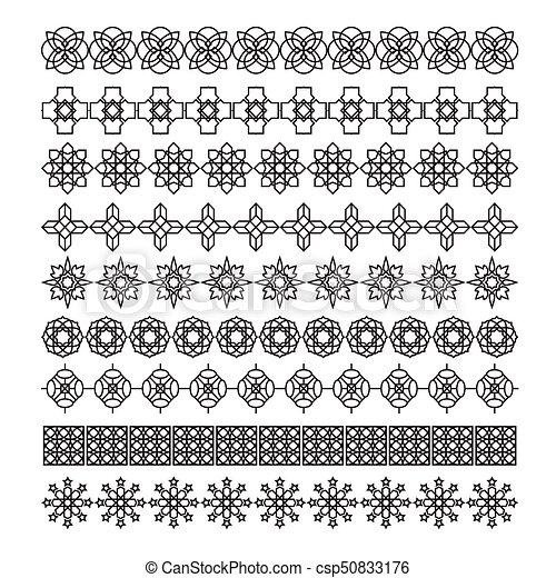 Arabic frame ornament, pattern brush, vector set.