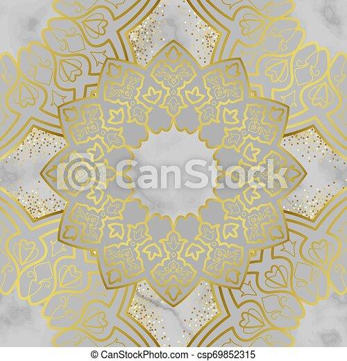 Arabic Golden Seamless Pattern On Marble Background Arabic Golden