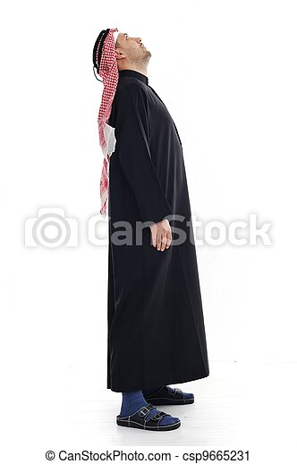Arabic man looking up and down - csp9665231