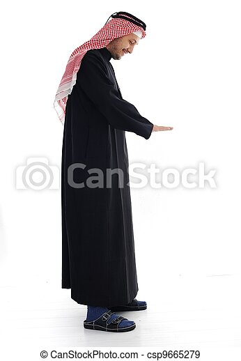 Arabic man looking up and down - csp9665279