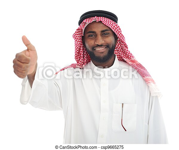 Arabic Middle eastern black man with thumb up - csp9665275