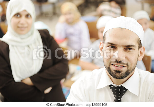 Arabic middle eastern students at school - csp12999105