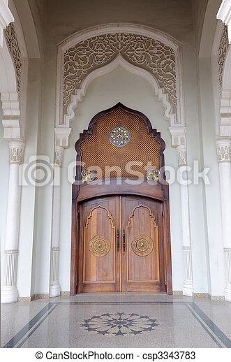 Arabic Style Mosque Door In Sharjah, United Arab Emirates   Csp3343783