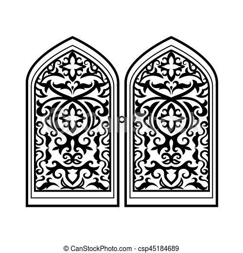 Arabic Window Black Silhouette Vector Islamic Window Or