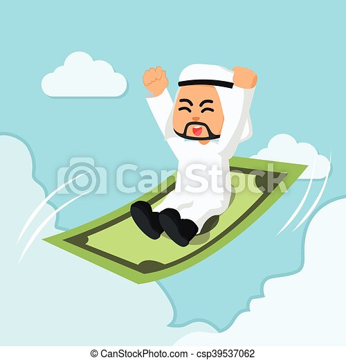 arabo, uomo affari, cavalcata, volare - csp39537062