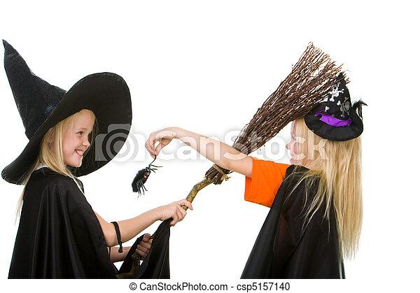 Arachnid Scare Portrait Of Girl In Warlock Scaring Her Sister By