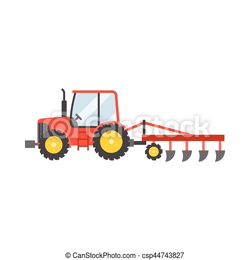 arado, plantar, trator, ilustração, isolado, ícone, colheitas, vetorial, desenho, apartamento, experiência vermelha, branca - csp44743827