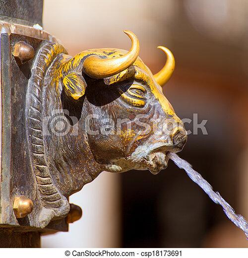 Aragon Teruel El Torico fountain in Plaza Carlos Castel Spain - csp18173691