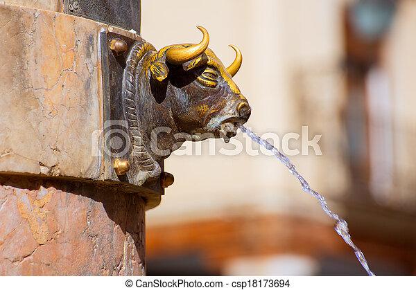 Aragon Teruel El Torico fountain in Plaza Carlos Castel Spain - csp18173694