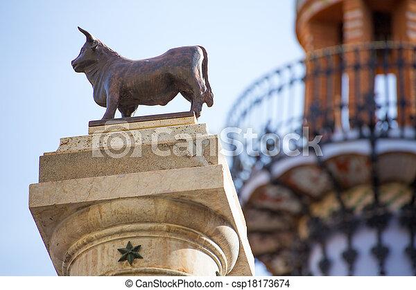 Aragon Teruel El Torico statue Plaza Carlos Castel Spain - csp18173674
