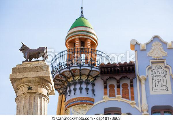 Aragon Teruel El Torico statue Plaza Carlos Castel Spain - csp18173663