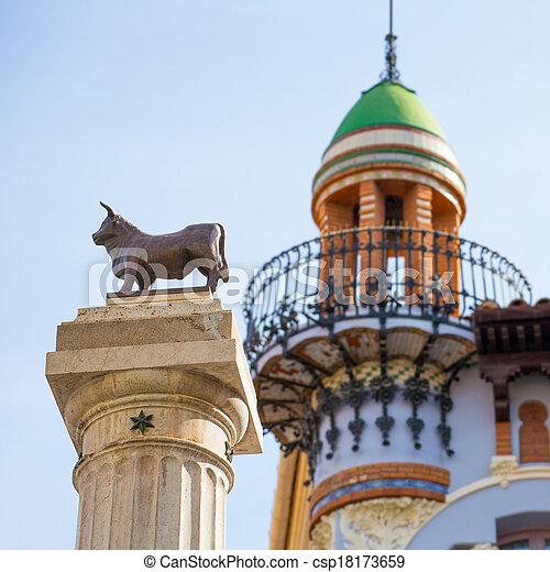 Aragon Teruel El Torico statue Plaza Carlos Castel Spain - csp18173659