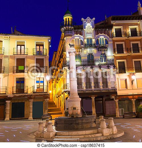 Aragon Teruel plaza el Torico Carlos Castel square Spain - csp18637415