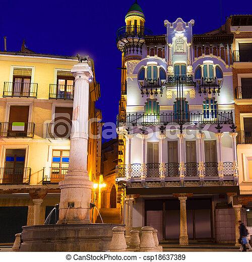 Aragon Teruel plaza el Torico Carlos Castel square Spain - csp18637389