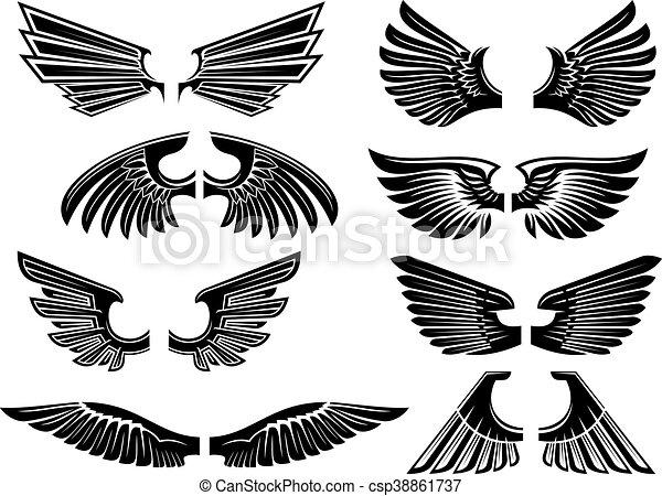 Araldica Angelo Tatuaggio Tribale O Disegno Ali Stilizzato