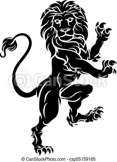 araldico, cappotto, cresta, rampant, braccia, leone, standing - csp55159165
