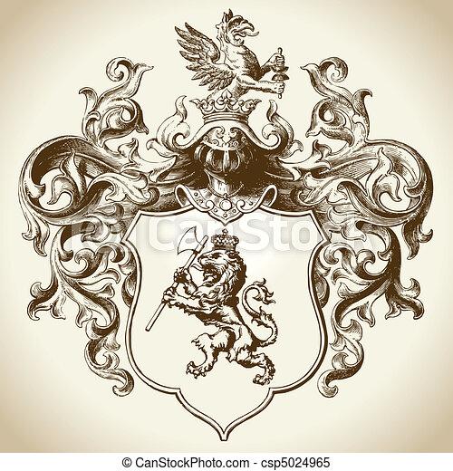 araldico, emblema, ornare - csp5024965