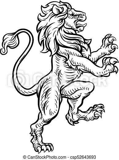 araldico, leone, stile, disegno - csp52643693