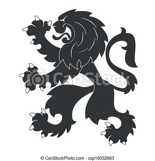 araldico, nero, leone - csp16032663