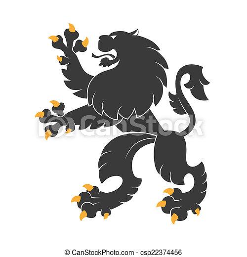 araldico, nero, leone - csp22374456