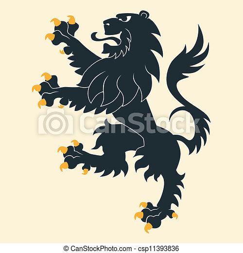 araldico, nero, leone - csp11393836