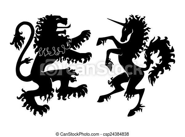 araldico, vettore, leone, unicorno - csp24384838