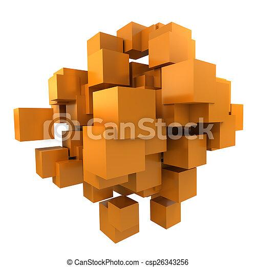 arancia, cubi, fondo - csp26343256