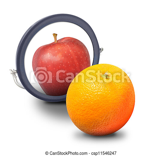 arancia, dall'aspetto, mela, specchio - csp11546247