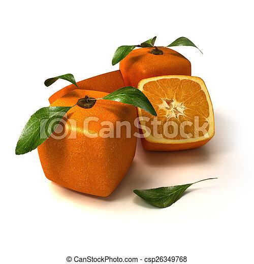 arancia, fresco, composizione, cubico - csp26349768