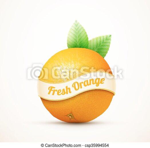 arancia, fresco, foglie, frutta, verde - csp35994554
