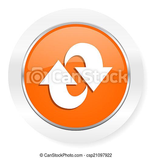 arancia, rotazione, icona computer - csp21097922