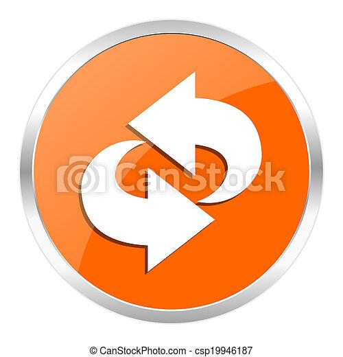 arancia, rotazione, lucido, icona - csp19946187