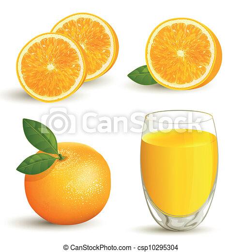 arancia, vettore, set - csp10295304